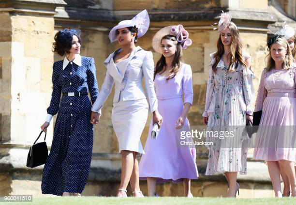 Abigail Spencer and Priyanka Chopra arrive at the wedding of Prince Harry to Ms Meghan Markle at St George's Chapel Windsor Castle on May 19 2018 in...