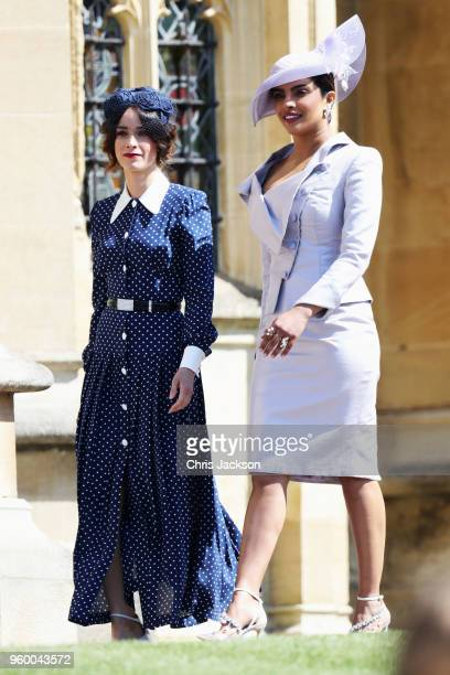 Abigail Spencer and Priyanka Chopra arrive at the wedding of Prince Harry to Ms Meghan Markle at St George's Chapel, Windsor Castle on May 19, 2018...