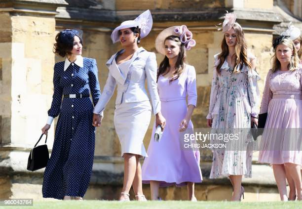 Abigail Spencer and Priyanka Chopra arrive for the wedding ceremony of Britain's Prince Harry Duke of Sussex and US actress Meghan Markle at St...