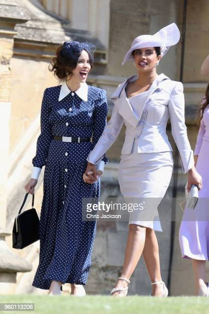 Abigail Spencer and Priyanka Chopra attend the wedding of Prince Harry to Ms Meghan Markle at St George's Chapel Windsor Castle on May 19 2018 in...