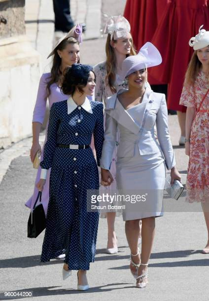 Abigail Spencer and Priyanka Chopra the wedding of Prince Harry to Ms Meghan Markle at St George's Chapel Windsor Castle on May 19 2018 in Windsor...
