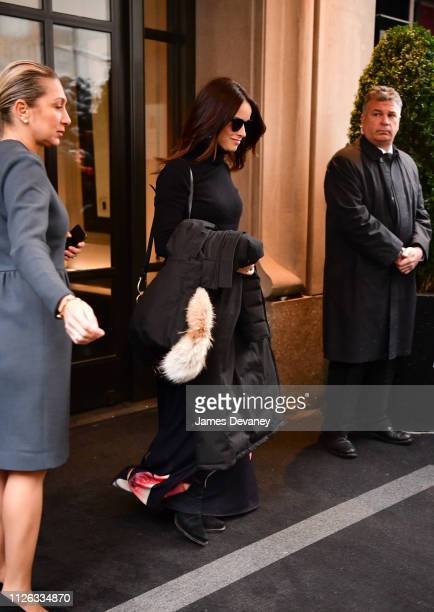 Abigail Spencer leaves The Mark Hotel after attending Meghan Duchess of Sussex's baby shower on February 20 2019 in New York City
