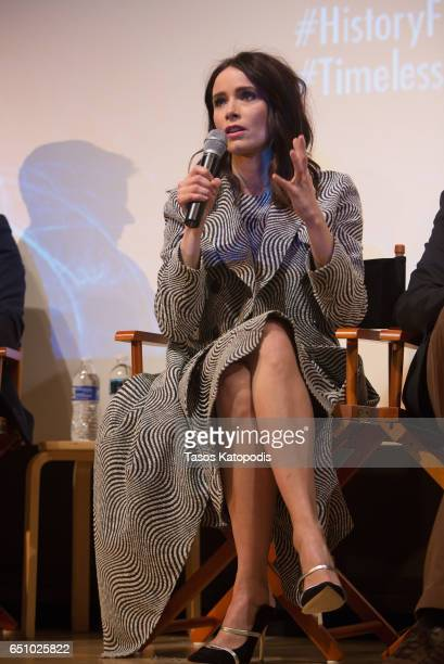 Abigail Spencer speaks after the screening of NBC and Sony Pictures Television Series Timeless at the Smithsonian National Museum Of American History...