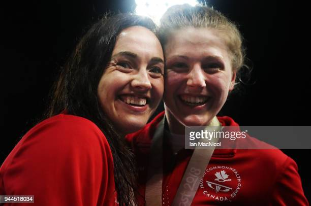 Abigail Tripp and Morgan Bird of Canada are see after the Women's S8 50m Freestyle Final on day six of the Gold Coast 2018 Commonwealth Games at...