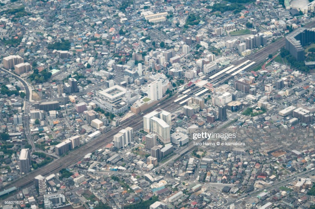 JR Abiko station, center of Abiko city in Chiba prefecture in Japan daytime aerial view from airplane : ストックフォト
