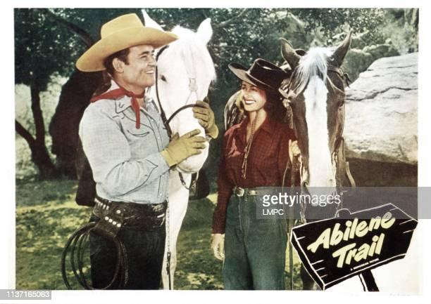 Abilene Trail, lobbycard, from left, Whip Wilson, Noel Neill, 1951.