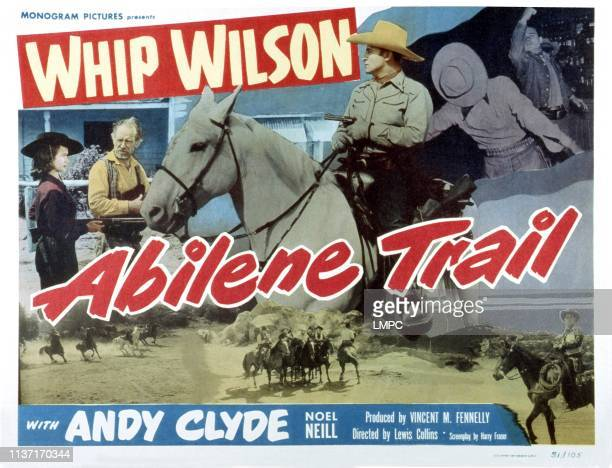 Abilene Trail, lobbycard, US poster, from left: Noel Neill, Andy Clyde, Whip Wilson, 1951.