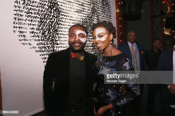 Abiola Oke and Opal Tometi attend the MoCADA 3rd Annual Masquerade Ball at Brooklyn Academy of Music on October 25 2017 in New York City