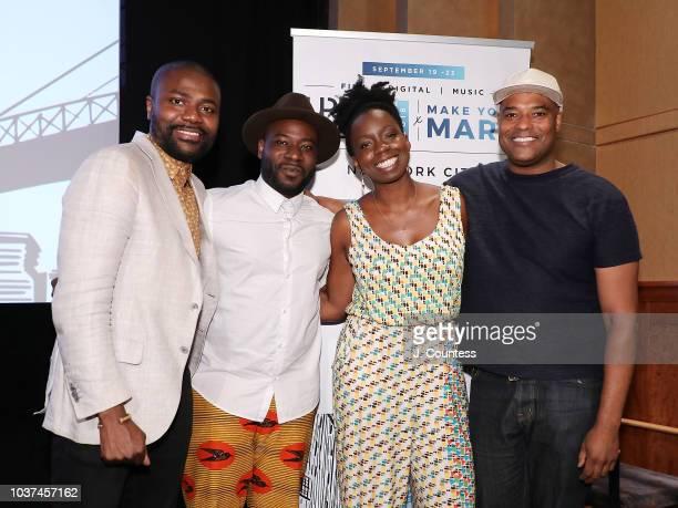 Abiola Oke Director Blitz Bazawule Filmmaker/actress Adepero Oduye and Filmmaker/actress Shawn Peters pose for a photo following the African Diaspora...