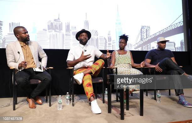 Abiola Oke Director Blitz Bazawule Filmmaker/actress Adepero Oduye and Filmmaker Shawn Peters speak during the African Diaspora Migration Cinema's...