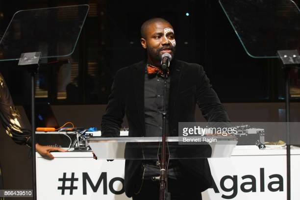 Abiola Oke speaks onstage during the MoCADA 3rd Annual Masquerade Ball at Brooklyn Academy of Music on October 25 2017 in New York City