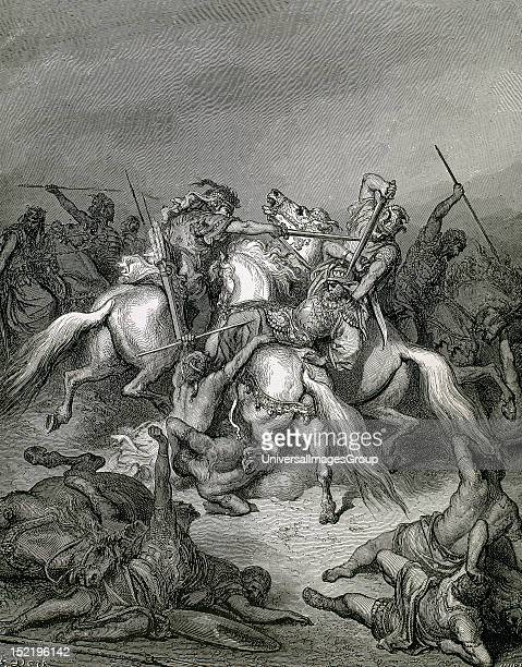 Abishai eldest son of Zeruiah sister King David Abishai saves the life of David Hurel engraving on an illustration of G DorŽ for 'The Bible in...