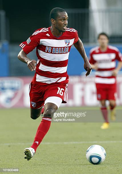 Abita Harris of FC Dallas advances the ball against the San Jose Earthquake at Pizza Hut Park on June 5 2010 in Frisco Texas