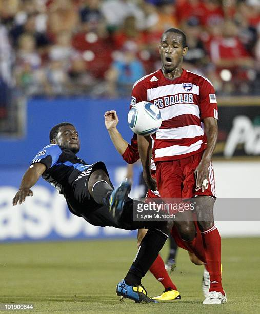 Abita Harris of FC Dallas defends against Brandon McDonald of the San Jose Earthquake at Pizza Hut Park on June 5 2010 in Frisco Texas