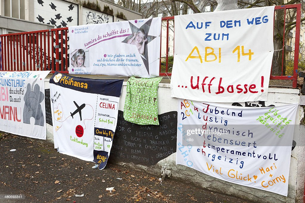 Abitur 2014, posters in front of school : Stock Photo