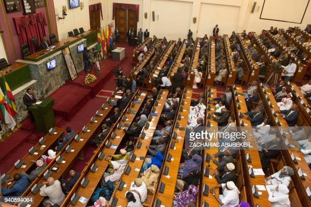 Abiy Ahmed Ali, newly elected Prime Minister of Ethiopia, addresses the house of Parliament in Addis Ababa, after the swearing in ceremony on April...
