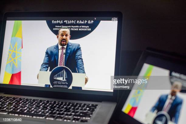 Abiy Ahmed, Ethiopia's prime minister, speaks during the United Nations General Assembly seen on a laptop computer in Hastings on the Hudson, New...