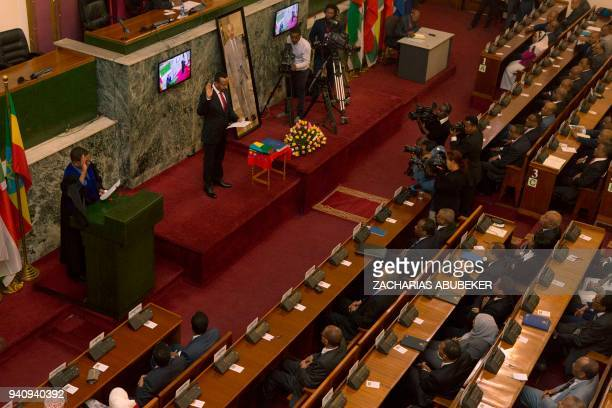 Abiy Ahmed, the newly elected Prime Minister of Ethiopia, is pictured during the swearing in ceremony on April 2, 2018 at the Ethiopian Parliament in...