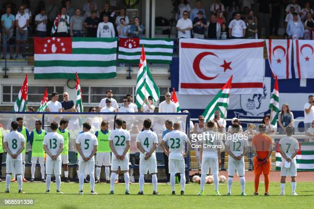 Abkhazia players line up prior to the start of the CONIFA World Football Cup 2018 match between Abkhazia and Northern Cyprus at Enfield Town on June...