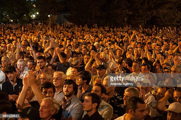 Abkhazian people rally outside the administrative building demanding the resignation of the government after the unilateral declaration of...