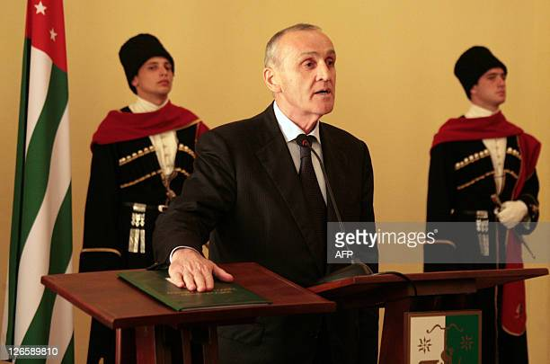 Abkhazia's new leader Alexander Ankvab swears in as president at an official ceremony in Sukhumi the capital of the rebel Georgian region on...