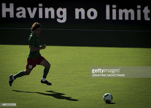 Abkhazia's Vladimir Argun controls the ball during the CONIFA World Football Cup 2014 match between Abkhazia and Sapmi on June 2 2014 in Oestersund...