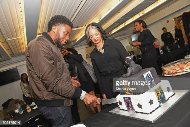 ABlack Panther Star Chadwick Boseman and Apollo Theater President CEO Jonelle Procope backstage at The Apollo Theater on February 27 2018 in New York...
