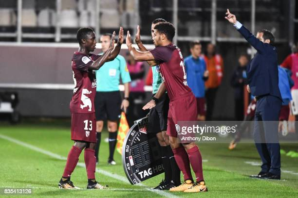 Ablie Jallow is replaced by Matthieu Udol of Metz during the Ligue 1 match between FC Metz and AS Monaco on August 18 2017 in Metz
