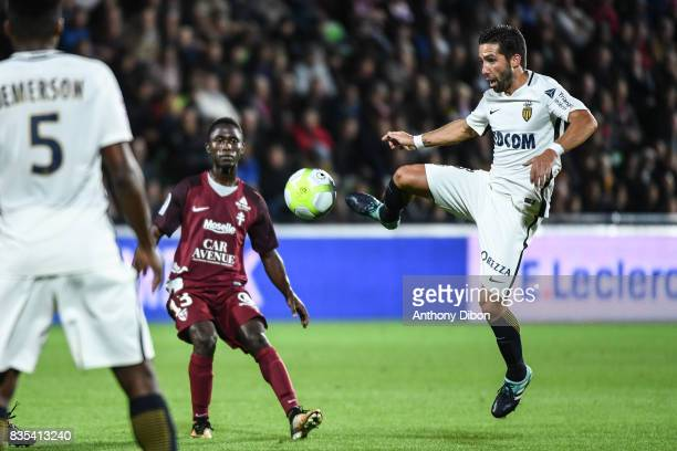 Ablie Jallow of Metz and Joao Moutinho of Monaco during the Ligue 1 match between FC Metz and AS Monaco on August 18 2017 in Metz
