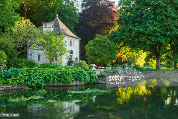 Ablington Manor, Gloucestershire: View across The River Coln to Gazebo / Summer house in French Styl