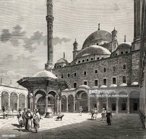 Ablutions fountain in the Mosque of Muhammad Ali Pasha or Alabaster Mosque Cairo Egypt drawing by Bonamore engraving from L'IIllustrazione Italiana...