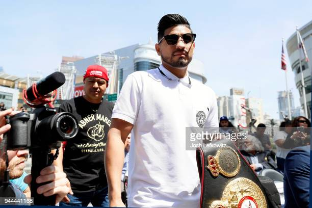 Abner Mares arrives to a press conference on April 10 2018 in Los Angeles California