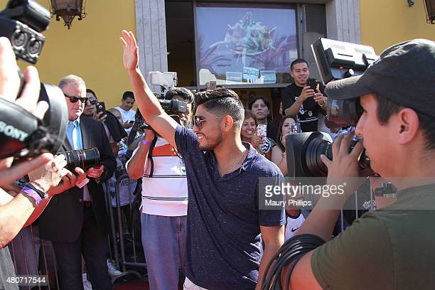 Abner Mares attends a press conference hosted by Leo Santa Cruz and Abner Mares at Plaza Mexico on July 14 2015 in Lynwood California