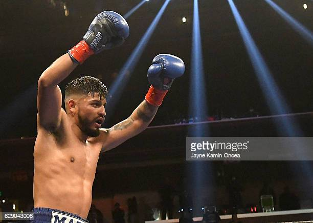 Abner Mares in the ring as he defeated Jesus Cuellar in the WBA Featherweight Championship Bout at the Galen Center at the University of Southern...