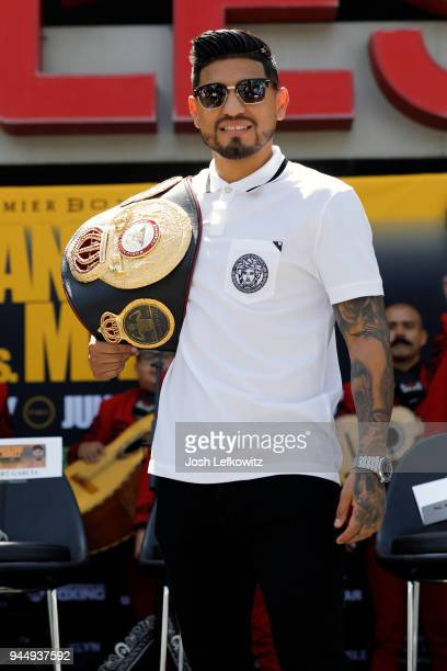 Abner Mares poses for a photograph prior to a press conference on April 10 2018 in Los Angeles California