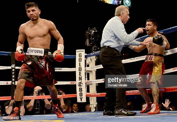 Abner Mares walks away after the referee steps in front of Jose Ramirez during their super featherweight fight at the MGM Grand Garden Arena on...