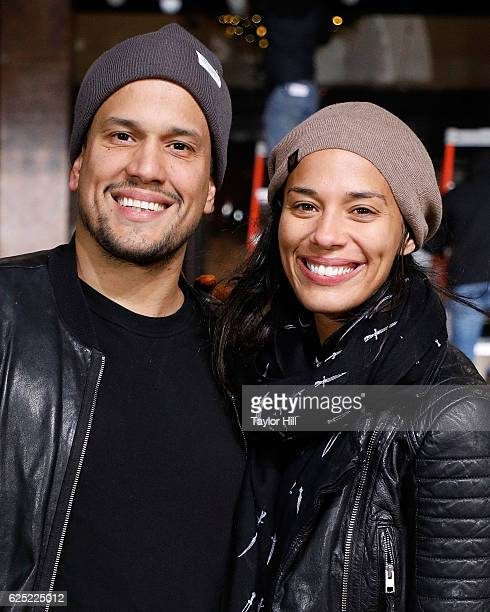 Abner Ramirez and Amanda Sudano of JOHNNYSWIM attend Macy's Thanksgiving Day Parade rehearsals on November 22 2016 in New York City