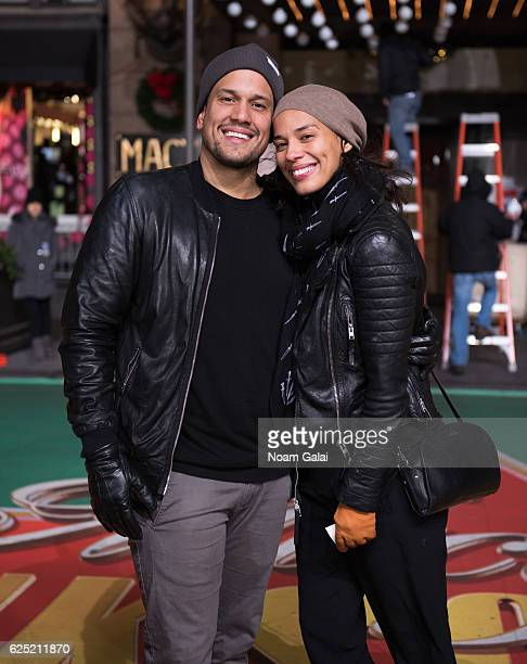 Abner Ramirez and Amanda Sudano of Johnnyswim attend the 90th anniversary Macy's Thanksgiving day parade rehearsals at Macy's Herald Square on...