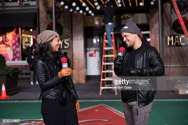 Abner Ramirez and Amanda Sudano of Johnnyswim perform at the 90th anniversary Macy's Thanksgiving day parade rehearsals at Macy's Herald Square on...