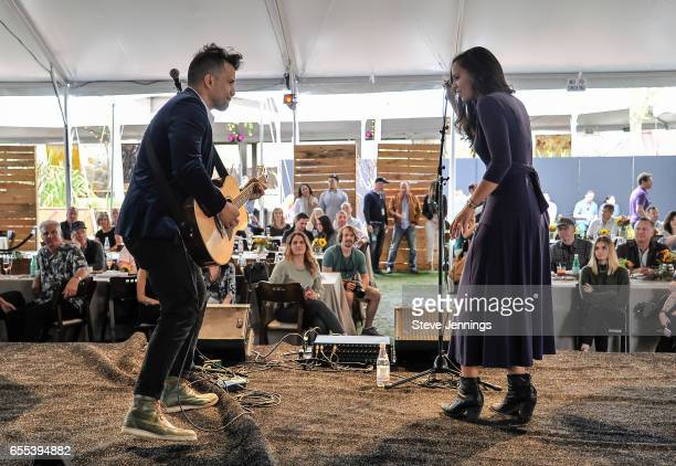 Abner Ramirez and Amanda Sudano of Johnnyswim perform on Day 4 of the 3rd Annual Yountville Live Music Food Wine Festival on March 19 2017 in...
