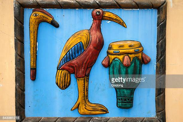 abomey king's symbol - relief carving stock pictures, royalty-free photos & images