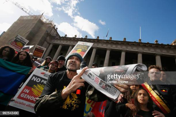 Aboriginal activist Robbie Thorpe speaks to the crowd gathered on the steps of Parliament house on July 6 2018 in Melbourne Australia The march marks...