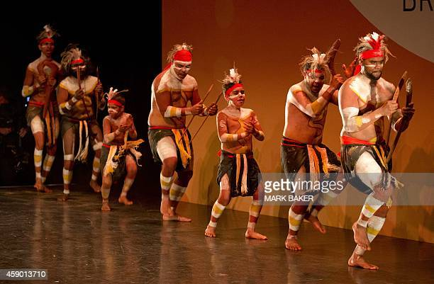 Aboriginal and Torres Strait Island dancers perform at the welcome ceremony for the leaders attending the G20 Summit in Brisbane on November 15 2014...