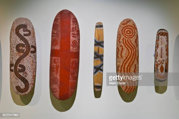 aboriginal art in south australian museum of adelaide - aboriginal dot painting stock pictures, royalty-free photos & images