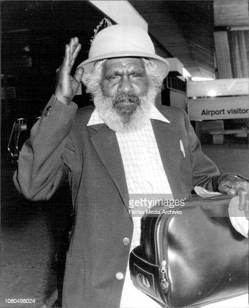 Aboriginal artist Dick Roughsey from the Lac Dill tribe returned from the World Wilderness Congress in Johannesburg today Sporting a Pith Helmet...