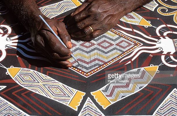 Aboriginal Artist Terry Yumbulul Painting Sea Creatures