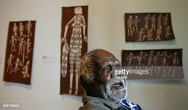 Aboriginal artists from all over Australia in Melbourne for the opening of Land Marks exhibition at NGV in Federation Square Bardayal Lofty...