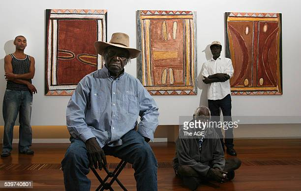 Aboriginal artists from all over Australia in Melbourne today for the opening of Land Marks exhibition at NGV in Federation Square Artist Mick...