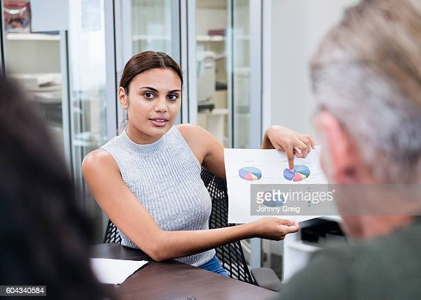 Aboriginal Australian businesswoman showing pie charts in meeting