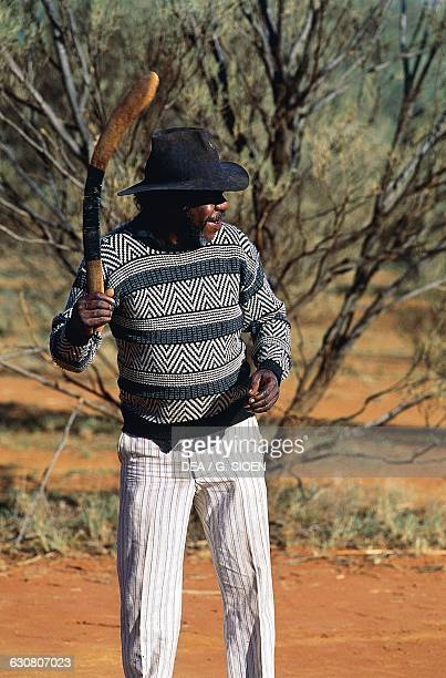 Aboriginal boomerang thrower Alice Springs Northern Territory Australia